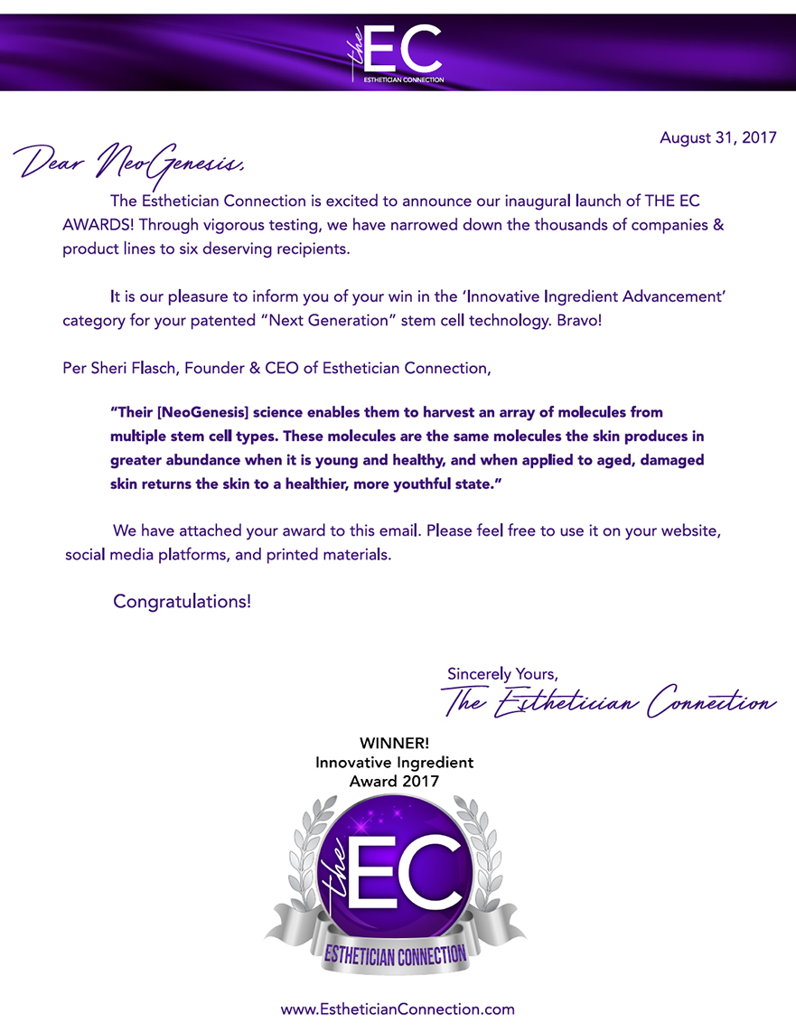 Esthetician Connection 2017 Innovative Ingredient Award - Winner NeoGenesis Inc.